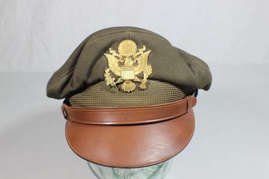 US WW2 True Crusher Visor Cap By Columbia. Named. Beautiful!