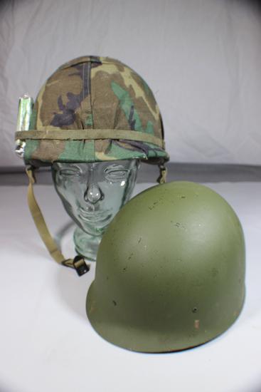 US Vietnam M1 Helmet Liner W/ Cigarettes & Rare 1969 Dated ERDL Pattern Cover & Spare Liner.