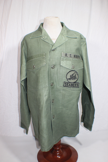 US Vietnam War USN Navy Seabees Fatigue Shirt. Theater Made Patches. Cool!