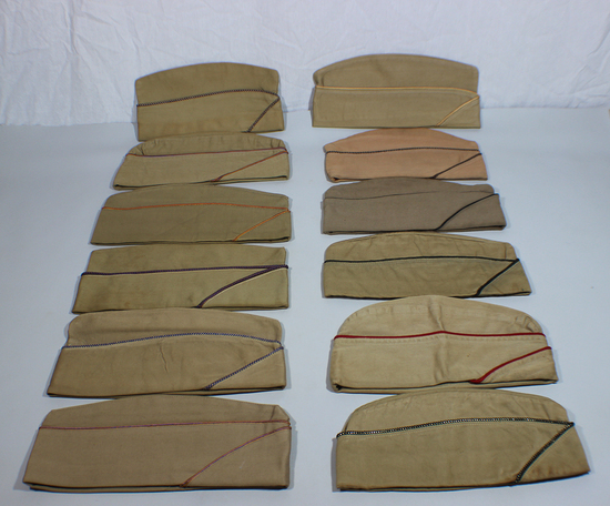Lot of 12 US WW2 Overseas Garrison Caps. All Khaki. Mostly Piped.