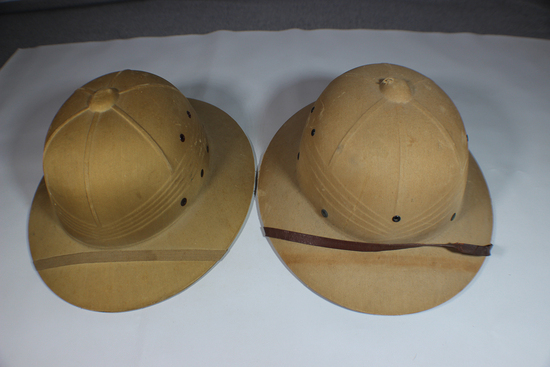 Lot of 2 US WW2 Sun Pith Helmets. Both Named.