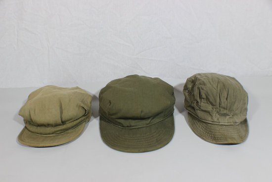 Lot of 3 US WW2 Army & USMC HBT Field Combat Cap Hats.