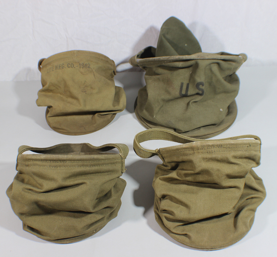 US WW2 Cavalry Canvas Water Bucket & Tray Lot. 5 Pieces.