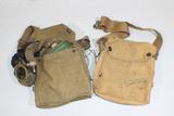 US WW1 Gas Mask Lot. 1 W/ Mask & 1 Empty Bag.
