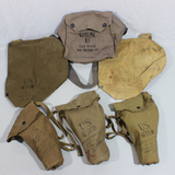 US WW2 Gas Mask Lot. 2 Empty Army Bags, 1 Empty Navy Bag, 3 Complete Civilian Gas Masks.