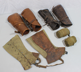 US WW1 Legging Lot. 2 Leather Pairs. Cavalry Reinforced Pair. 1 Pair of Puttees.