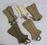 5 Pairs of US WW2 Canvas Leggings.  Nice Early Markings.