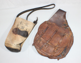 US WW1 Saddle Bag & Pre WW1 Cavalry Feeder Bag. Nicely Marked. Both In Heavily Aged Condition.