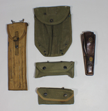 US WW2 Misc. Field Gear Lot. Electrical Tool W/ Knife. Cleaning Rod. Shovel Cover Etc.