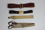 US WW2 Belt & Sling Lot. Sam Browne Belt. Officer's Belt, Gas Mask Strap, & Unknown Rifle Sling.