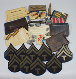 US WW2 Personal Item Grouping. Pictures, Papers, Letters, Patches, Pins, Shrapnel, Shells, Etc.
