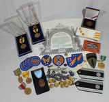 US WW2 - Vietnam Air Force Officer's Grouping. 33rd Degree Mason. Patches, Pins, Wings, Medals, Etc.