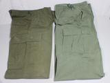 2 Pair of US Vietnam War Rip Stop & Non Rip Stop Poplin Jungle Pants. Combat Worn. Wartime Dated.
