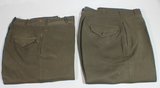 2 Pairs of US WW2 Army Officer's Chocolate Brown Gabardine Wool Dress Pants.