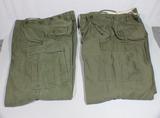 2 Pairs of Korean War Era M-1951 Wind Proof Pants. 1 Mint Size Large!