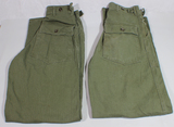 2 Pairs of US WW2 Late War Army HBT Field Combat Pants.