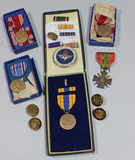 US WW2 Medal Lot. French Croix De Guerre. Selective Service, ATC Instructor Pin,Etc.