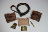 US WW2 Misc. Lot. Double Buck Boot Tops, Repro Garand Sling, Bandage, Ammunition, Russian Buckle