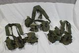 Lot of 3 US Vietnam Era Rifleman's Belts W/ Suspenders & Various Kit.