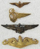 4pcs-Misc. WW1/WW2 USN Wings/Submarine Officer Badge