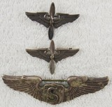 3pcs-WW1 Period Winged Prop Insignia-Theater Made Service Pilot Wing