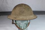 US WW1 Brodie Doughboy Helmet. Sand Camo. Complete. Very Nice.