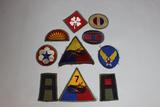 US WW2 & Earlier Patch Lot. 10 Total Woolies & Green Backs