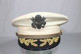 Rare US Pre WW2 Army Field Grade Officer's Mess Dress White Visor Hat Cap. Named To Colonel.