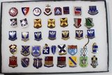 US WW2 Lot of 39 DI's DUI's Distinctive Unit Insignia Crests Pins.