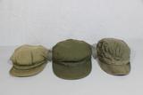 Lot of 3 US WW2 Army & USMC HBT Field Combat Cap Hats.