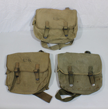 Lot of 3 US WW2 Mussette Bags 2 EARLY 1941 Dated Bags. W/ Straps. Great Lot!