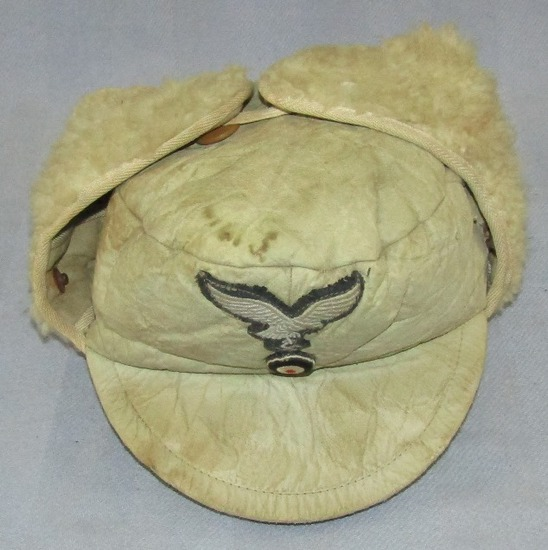Luftwaffe Cold Weather/Russian Front Leather/Alpaca Cap