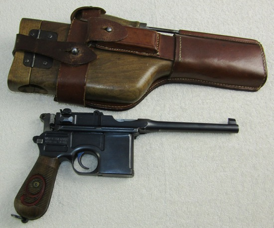 "Rare WW1 Period C96 ""Red Nine"" (9mm) Broomhandle Pistol W/Wood Holster Stock-Matching Numbers"