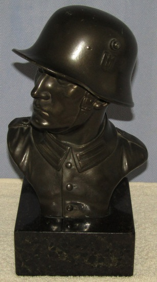 Bronze Finish WW2 German Soldier Bust Sculpture With Marble Base.