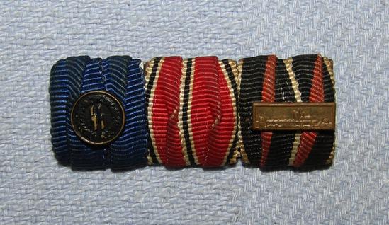 Scarce WW2 Period 3 Place Ribbon Bar-SS 4 Year Service W/Device-Austrian & Czech Annex Ribbons