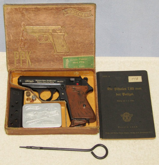 Rare! Pre/Early WW2 SS/Nazi Police Issue (E/C) Walther PPK Pistol W/Issue Box-Police Booklet