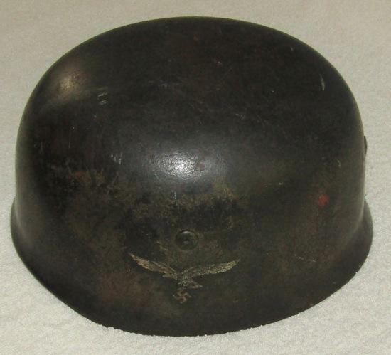 "Rare Single Decal ""Normandy"" Camo M38 Fallschirmjager Helmet-Combat Worn!"