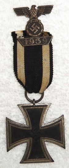 2pcs-WW2 Iron Cross 2nd Class W/WW1 Ribbon-2nd Class Spange Semi Attached To Ribbon