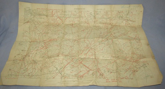 "Rare WW1 Trench Map-Marked ""SECRET"""
