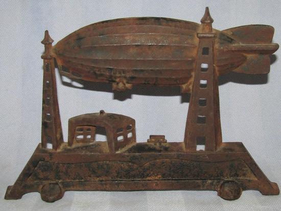 Rare Vintage Cast Iron Graf Zeppelin Lamp
