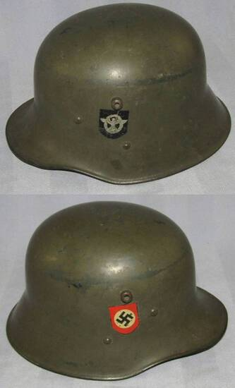 Scarce WW1 Nazi Police Double Decal Transitional M17 Austrian Helmet