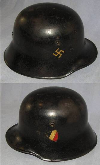 Rare Early NSDAP Nazi State Police Double Decal M18 Helmet W/Liner/Chin Strap