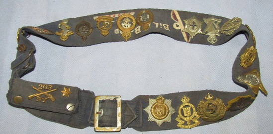 WW2 Canadian/RAF Volunteer Cloth Military Belt Loaded With Misc. Insignia-Named