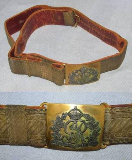 Victorian Period British Officer's Brocade Belt With Buckle.