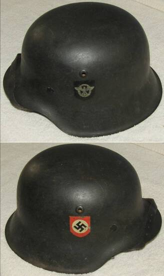 Double Decal Nazi Combat Police M42 Helmet With Liner/Chin Strap
