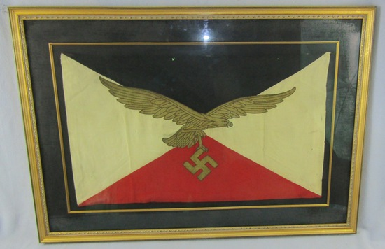 Rare WW2 Luftwaffe Commanding General Flag In Frame