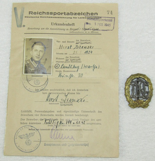 Rare War Wounded DRL Sports Badge With Document