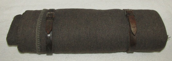 Scarce German Soldier Wool Blanket Roll With Leather Straps