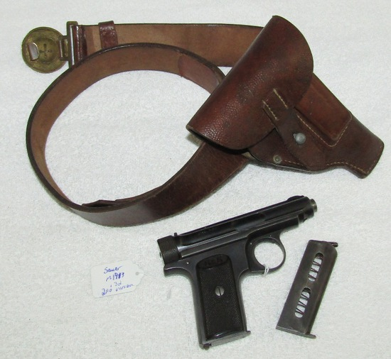 M1913 (Transitional 2nd Variant) Sauer & Sohn 7.65 Cal. Pistol W/Holster/WW1 German Officer's Belt