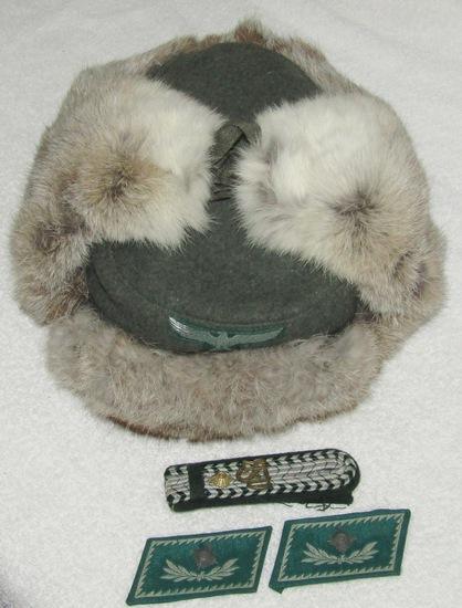 4pcs-WW2 German Customs Rabbit Fur Winter Cap-Collar Tabs/Shoulder Board